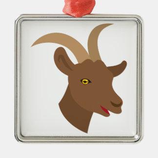 Ornement Carré Argenté visage mignon masculin de chèvre