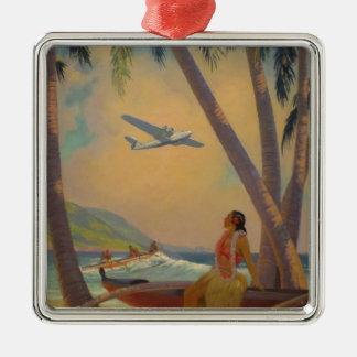 Ornement Carré Argenté Voyage hawaïen vintage - danseuse de fille d'Hawaï