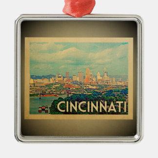 Ornement Carré Argenté Voyage vintage d'ornement de Cincinnati Ohio