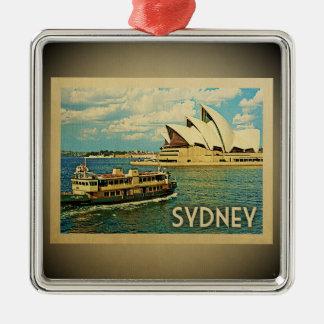 Ornement Carré Argenté Voyage vintage d'ornement de Sydney Australie