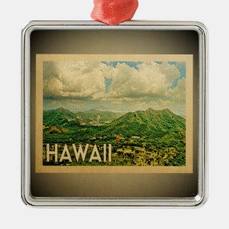 Ornement Carré Argenté Voyage vintage d'ornement d'Hawaï