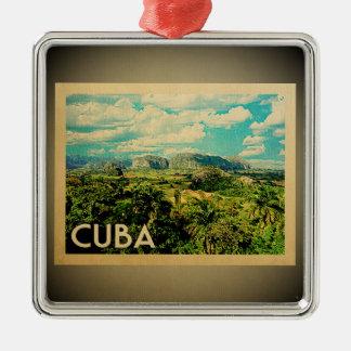 Ornement Carré Argenté Voyage vintage d'ornement du Cuba