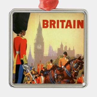 Ornement Carré Argenté Voyage vintage, Grande-Bretagne Angleterre, garde