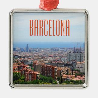 Ornement Carré Argenté Vue aérienne de Barcelone, Espagne