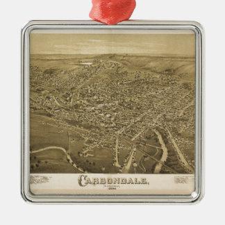 Ornement Carré Argenté Vue aérienne de Carbondale, Pennsylvanie (1890)