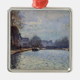 Ornement Carré Argenté Vue d'Alfred Sisley | du canal St Martin, Paris