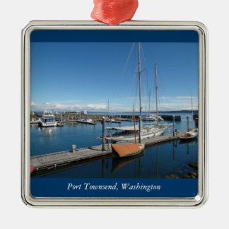 Ornement Carré Argenté Vue de bateau d'océan de Townsend Washington de