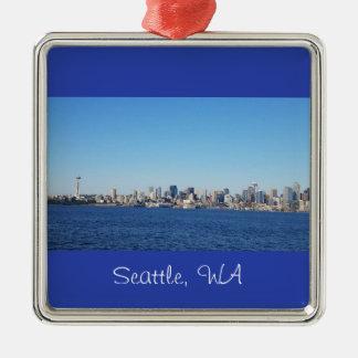 Ornement Carré Argenté Vue de la ville de l'ornement de Seattle