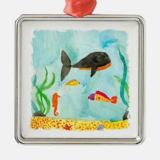 Ornement Carré Argenté Vue de mer d'aquarelle avec la baleine et