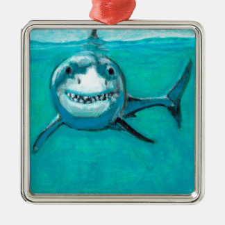 """Ornement Carré Argenté """"Wayne"""" le grand requin blanc"""