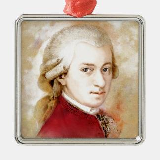 Ornement Carré Argenté Wolfgang Amadeus Mozart dans l'aquarelle style