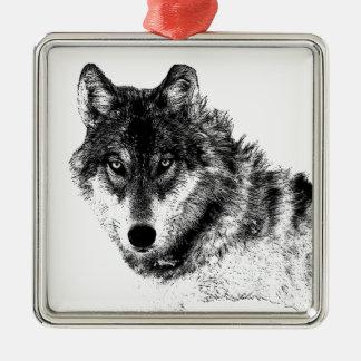 Ornement Carré Argenté Yeux inspirés blancs noirs de loup
