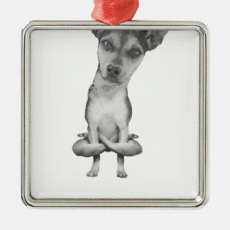Ornement Carré Argenté Yogi Doggie cute dog in yoga asana, cool funny