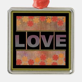 Ornement carré en métal d'amour