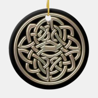 Ornement celtique de noeud d'or noir et métallique