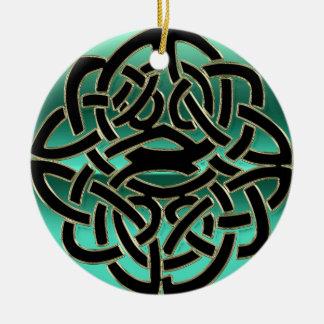 Ornement celtique turquoise et noir de noeud de