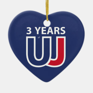 Ornement Cœur En Céramique 3 Years Of Union J ack