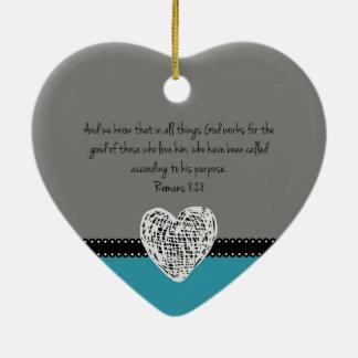 Ornement Cœur En Céramique 8h28 chrétien de Romains de vers de bible de Noël