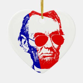 Ornement Cœur En Céramique Abraham Lincoln