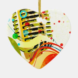 Ornement Cœur En Céramique Affiche de microphone de jazz