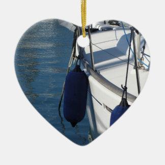 Ornement Cœur En Céramique Aile gauche de bateau à voile avec deux