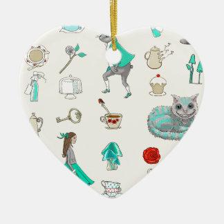 Ornement Cœur En Céramique Alice au pays des merveilles