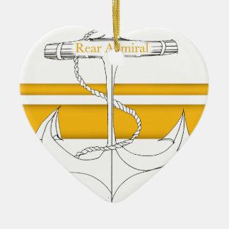 Ornement Cœur En Céramique amiral arrière d'or, fernandes élégants