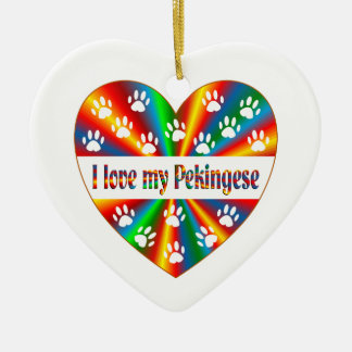 Ornement Cœur En Céramique Amour de Pekingese
