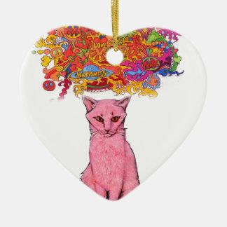 Ornement Cœur En Céramique Amour et bonheur Kitty de paix