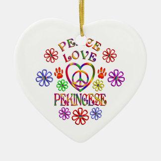 Ornement Cœur En Céramique Amour Pekingese de paix