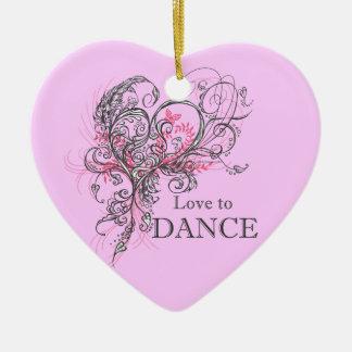 Ornement Cœur En Céramique Amour pour danser l'ornement de coeur