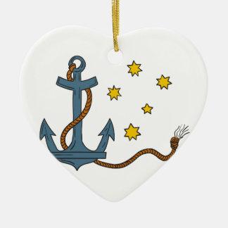 Ornement Cœur En Céramique Ancre avec la corde et le dessin du sud d'étoile