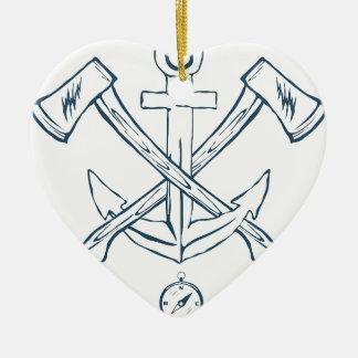 Ornement Cœur En Céramique Ancre avec les haches croisées. Éléments de