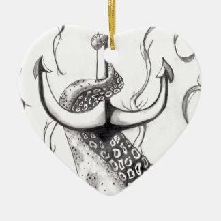 Ornement Cœur En Céramique Ancre d'Octo