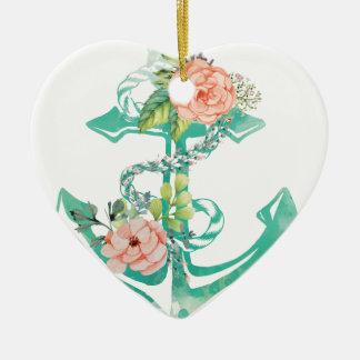 Ornement Cœur En Céramique Ancre et roses