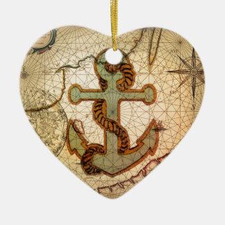 Ornement Cœur En Céramique Ancre nautique de cru de carte de plage côtière