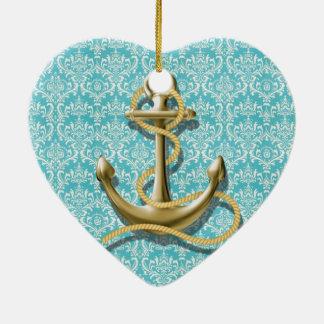 Ornement Cœur En Céramique ancre nautique de marin de damassé de turquoise de