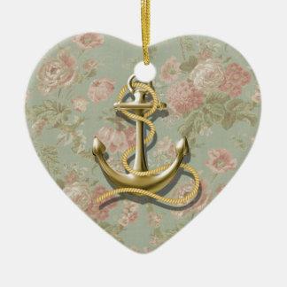 Ornement Cœur En Céramique Ancre nautique girly florale chic minable