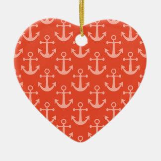Ornement Cœur En Céramique Ancres nautiques dans le joli motif rose de corail