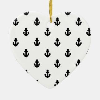 Ornement Cœur En Céramique Ancres par la mer