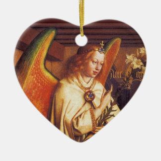 Ornement Cœur En Céramique Ange du coeur de Noël d'annonce