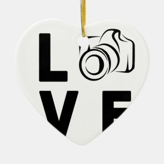 Ornement Cœur En Céramique appareil-photo et amour