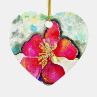Ornement Cœur En Céramique Aquarelle rose de fleur de mystère