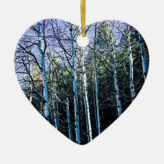 Ornement Cœur En Céramique Arbres d'Aspen en automne