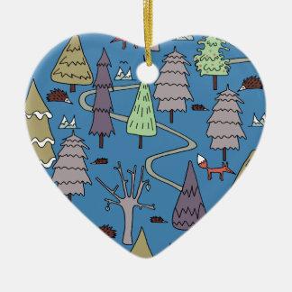 Ornement Cœur En Céramique arbres d'hiver