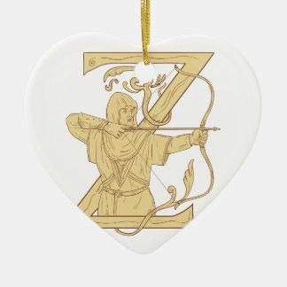 Ornement Cœur En Céramique Archer médiéval visant l'aspiration de la lettre Z