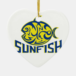Ornement Cœur En Céramique Art de tribal de Sunfish d'océan