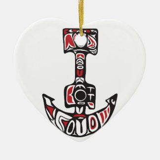 Ornement Cœur En Céramique Art du nord-ouest de côte d'ancre