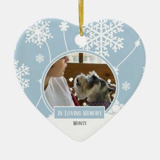Ornement Cœur En Céramique Au coeur affectueux de Noël de photo d'animal