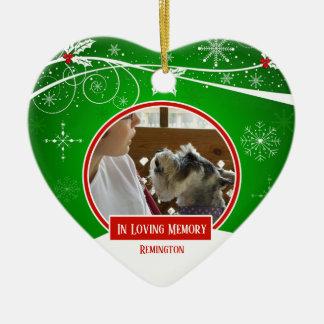 Ornement Cœur En Céramique Au coeur vert rouge de Noël d'animal familier